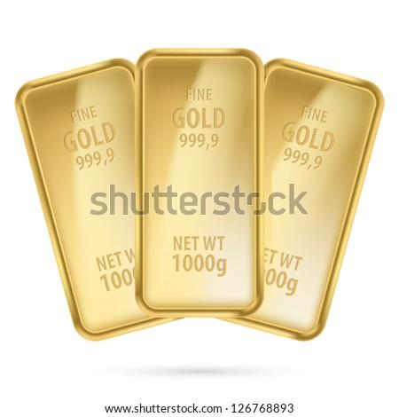 Raster version. Three gold bars.  Illustration on white background - stock photo