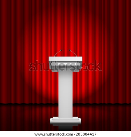 Raster version. Tribune for the performance of speech on a red background