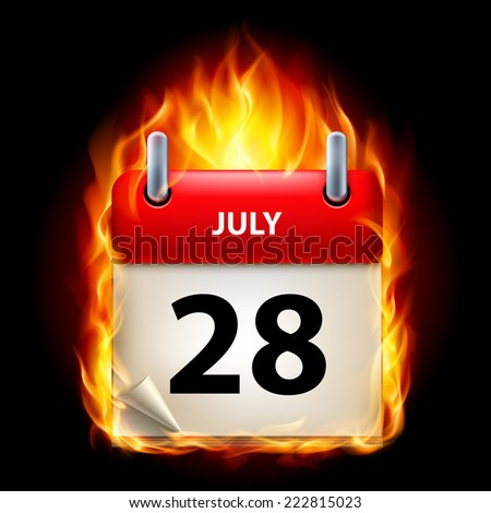 Raster version. Twenty-eighth July in Calendar. Burning Icon on black background  - stock photo