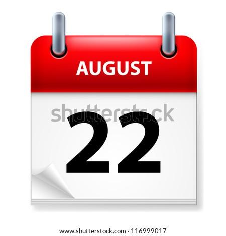 Raster version. Twenty-second in August Calendar icon on white background - stock photo