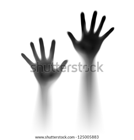 Raster version. Two open hands in the mist. Illustration of designer - stock photo