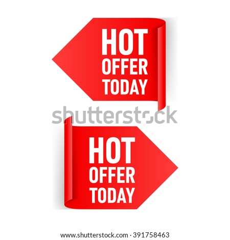 Raster version. Two Red Arrow Paper Stickers on White Background