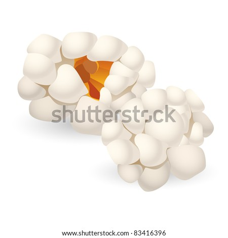 Raster version. Two single pieces of isolated popcorn. Illustration on white background - stock photo