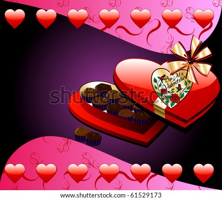 Raster version Valentine Background with Heart Box of Chocolate candy. - stock photo