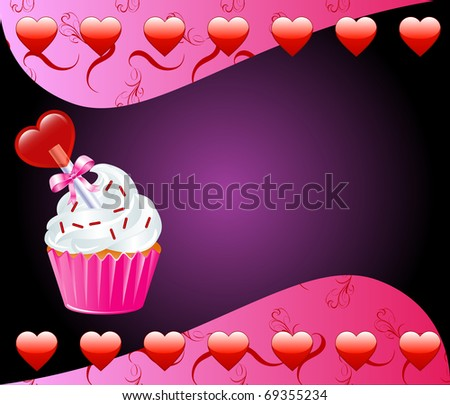 Raster version Valentine Background with Heart cupcake. - stock photo