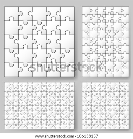 Raster version. Various sizes puzzle. Illustration for design - stock photo
