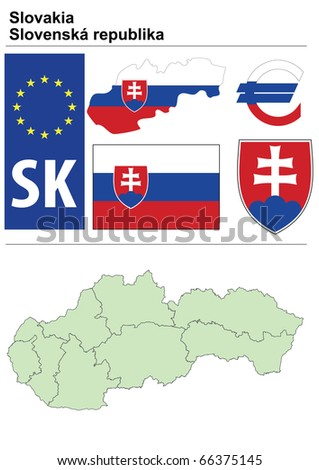 Raster version (vector available in my portfolio) of Slovakia collection including flag, plate, map (administrative division), symbol, currency unit & coat of arms - stock photo