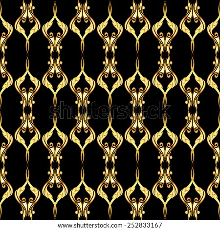 Raster version. Vertical seamless golden floral pattern on black background  - stock photo