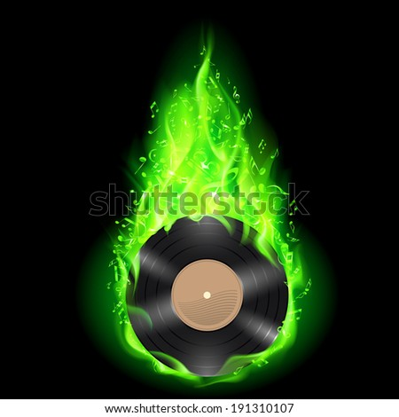 Raster version. Vinyl disc burning in green fire with notes. Bright illustration on black background. - stock photo