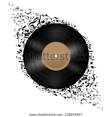 Raster version. Vinyl disc with music notes flying out. Illustration on white background.  - stock photo