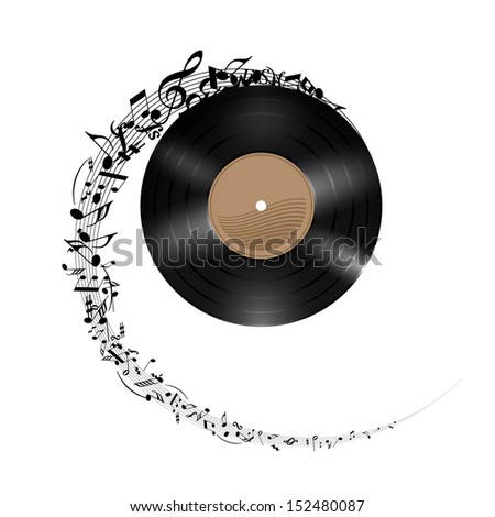 Raster version. Vinyl disc with music notes flying out in spiral. Effect of rolling record. Illustration on white background. - stock photo