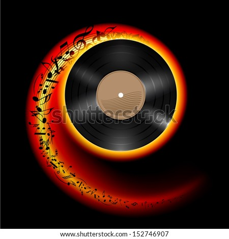 Raster version. Vinyl disc with music notes flying out in spiral of flame color. Effect of rolling record. Illustration on black background. - stock photo