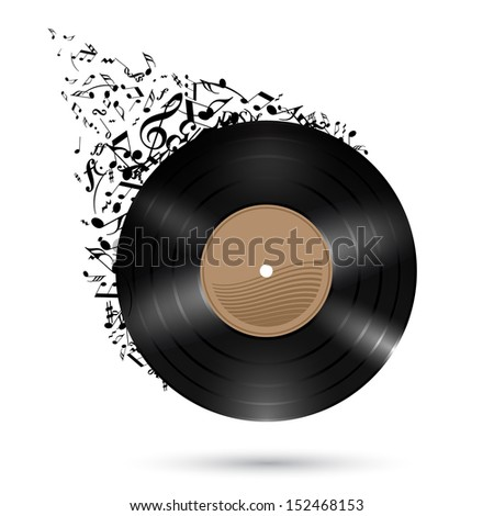 Raster version. Vinyl record with music notes flying up. Illustration on white background. - stock photo