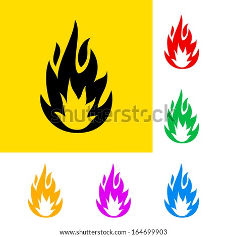 Raster version. Warning sign of highly flammable with color variations.  - stock photo