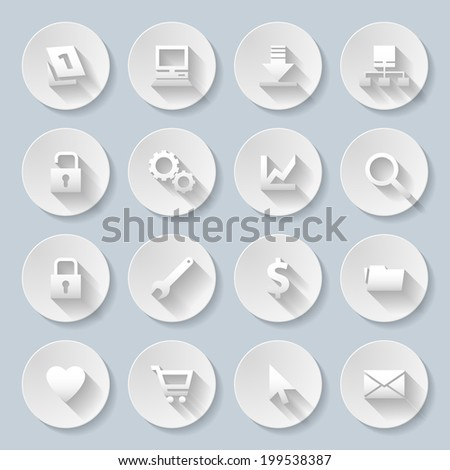 Raster version. Web site and Internet icons set in paper style - stock photo