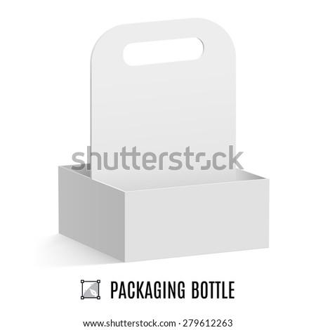 Raster version. White cardboard packaging for bottles isolated on background - stock photo