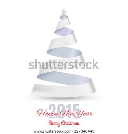 Raster version. White ribbon Christmas tree on white background.  Greeting card 2015.  - stock photo