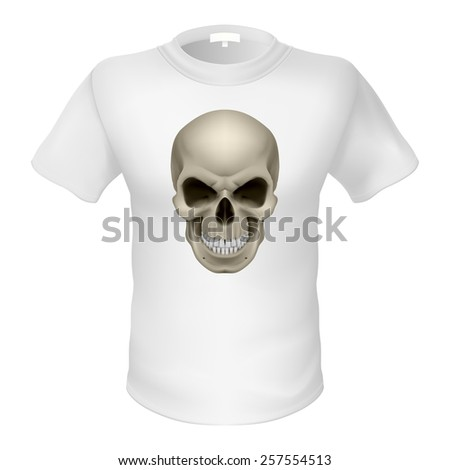 Raster version. White T-shirt with a skull isolated on white - stock photo
