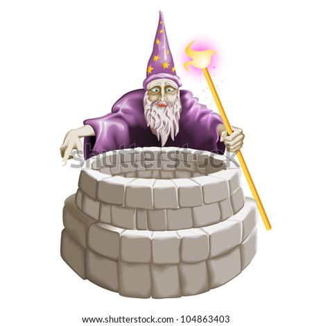 Raster version. Wizard and the well. Illustration on white background. - stock photo