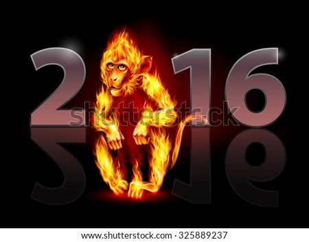 Raster version. Year Of The Red Fire Monkey. Greeting Card on black background for design