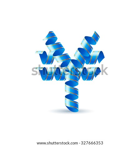 Raster version. Yen sign made of spiral sky blue ribbon.