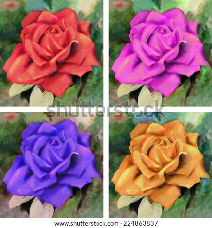Raster watercolor set with bright roses.  Hand drawn artwork - stock photo