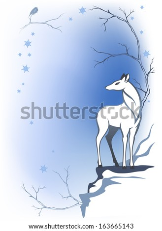 raster - winter forest background with deer - wildlife in the woods (additional format also available) - stock photo