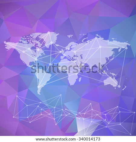 Raster World map background. infographic element, global network and communication net scheme - stock photo