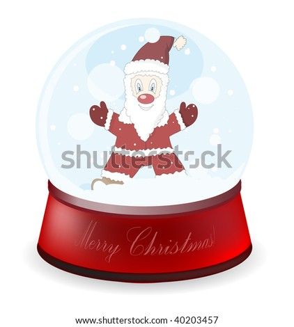 Rasterized versions. Illustration of a globe with Santa Claus - stock photo