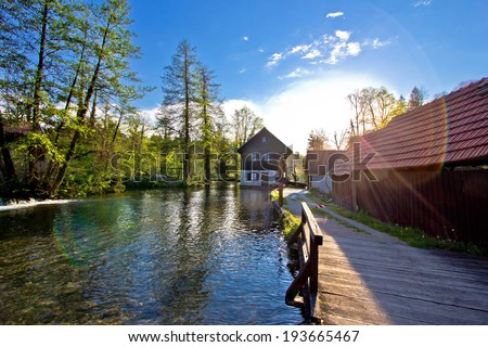 Rastoke village on Korana river in Croatia - stock photo