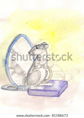 rat and a mirror. watercolor - stock photo