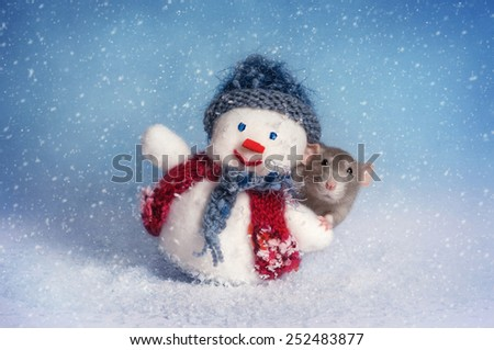 rat and snowman - stock photo