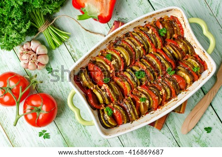 Ratatouille - traditional French Provencal vegetable dish cooked in oven. Homemade preparation recipe healthy diet - stock photo