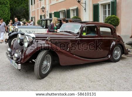 RATIBORICE, CZECH REPUBLIC - AUGUST 7: IX. Vintage car show  - Jaguar model from 1930s.  August 7, 2010 in Ratiborice Castle, Czech Republic - stock photo