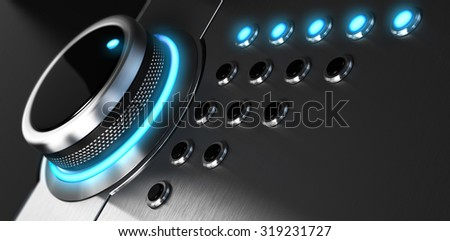 Rating button positioned on the highest position. Conceptual image for illustration of excellent customer service and client satisfaction. - stock photo