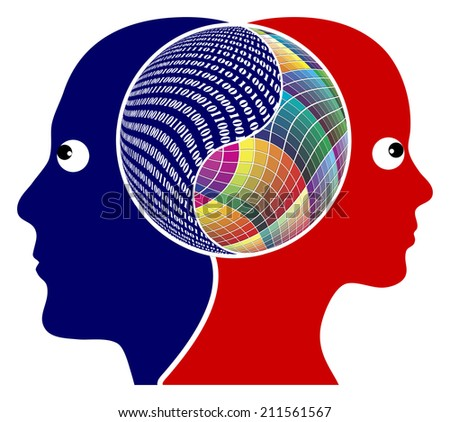 Rationality or Creativity. The right brain and the left brain got different function, either logical or creative thinking - stock photo