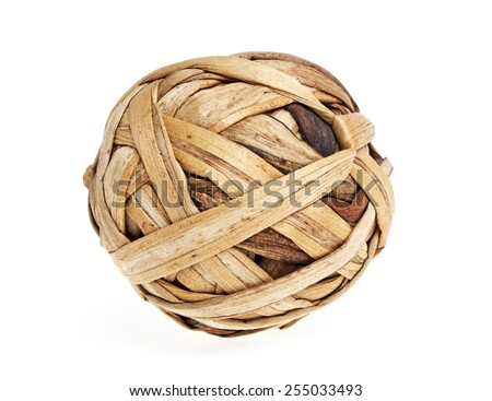 Rattan ball on a white background - stock photo