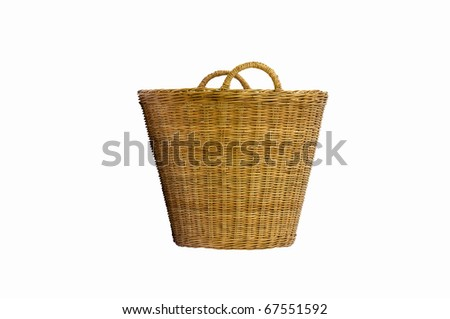 rattan basket isolated on white background - stock photo