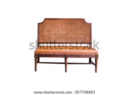 Rattan furniture chair isolated on white. - stock photo