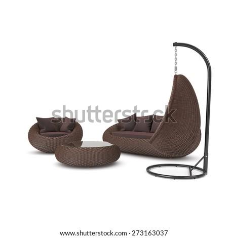 Rattan furniture on a white background. Set of rattan furniture - stock photo