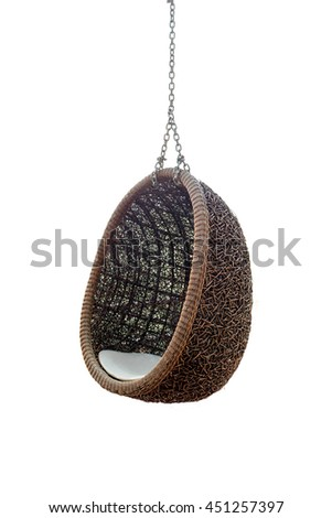 Rattan lounge hanging chair with white pillow isolated on white background - stock photo