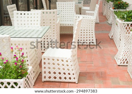 rattan sofa and table sets in outdoor - stock photo