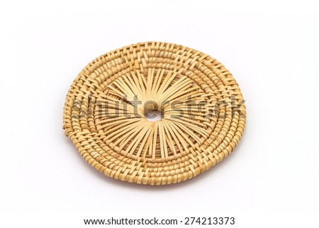 Rattan weave mat on a white background - stock photo