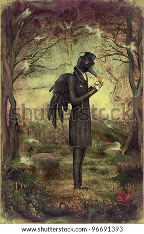 Raven in the forest. - stock photo