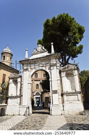 RAVENNA, ITALY - SEPTEMBER 6, 2014: Gate to the Basilica of San Vitale in Ravenna, Italy. - stock photo