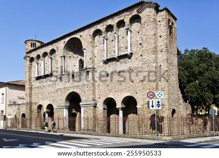 RAVENNA, ITALY -?? SEPTEMBER 6, 2014: Ruins of the Palace of King Theodoric in Ravenna, Italy - stock photo