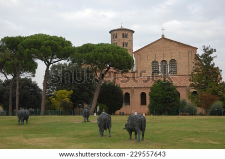 Ravenna Saint Apollinare in Classe Basilica with the round bell tower - stock photo