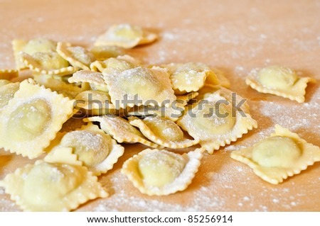 Ravioli, a classic Italian pasta. - stock photo