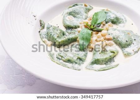 ravioli in the sauce - stock photo