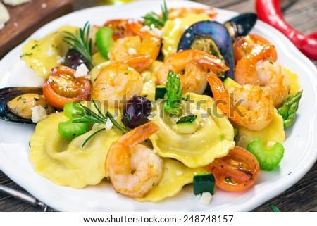Ravioli with seafood   - stock photo